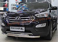 Защита переднего бампера труба двойная D60-42 на Hyundai Santa Fe ix45 2013+