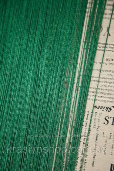 Шторы  нити  однотонные зеленые изумруд №211