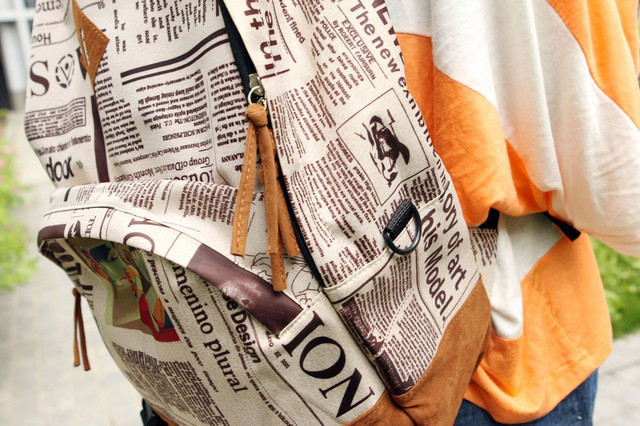 Молодежный рюкзак газетный