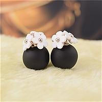 Изумительно красивые серьги Dior цветы черно-белые!, фото 1