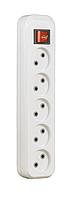 Колодка (кассета) для удлинителя 5 гнезд с выключателем SVITTEX 10А 250В 2200 Вт