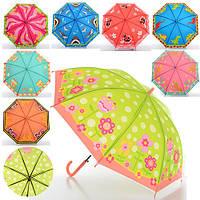 Зонтик детский MK 0521 длинна 52,5 см, трость 67 см, диаметр 81 см, спица 49 см, клеенка, 8 видов