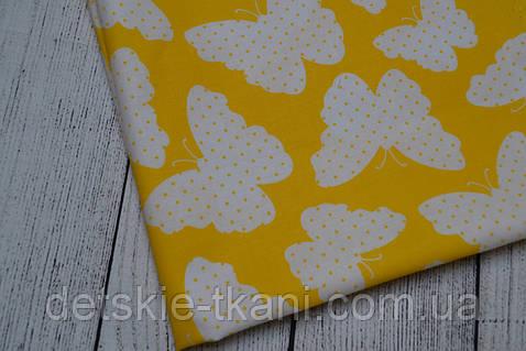 Лоскут ткани №91ткань с бабочками жёлтого цвета размером