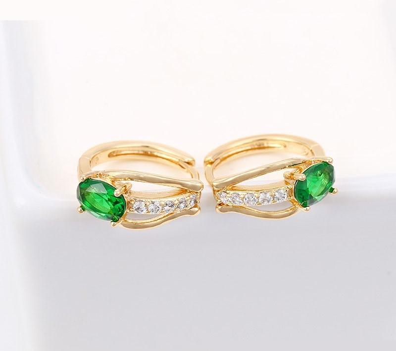 Сережки кільця із зеленим цирконієм, позолота Xuping, 18К