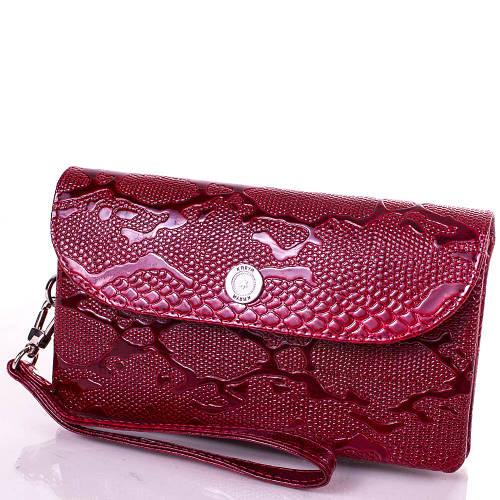Женский яркий кожаный клатч KARYA (КАРИЯ) SHI1121-1LAK  Красный