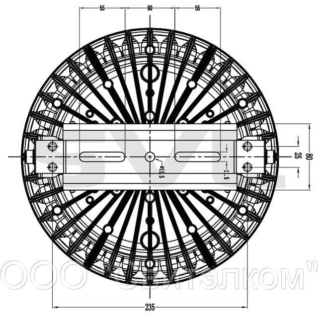 Размеры светодиодного светильника ORBIS-F 60W