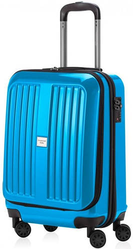 Комфортный голубой чемодан на 4-х колесах HAUPTSTADTKOFFER xberg mini cyan blue, пластик, 42 л.