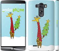 "Чехол на LG G3 dual D856 Жираф и ёлка ""1265m-56"""
