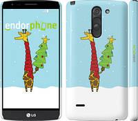 "Чехол на LG G3 Stylus D690 Жираф и ёлка ""1265m-89"""