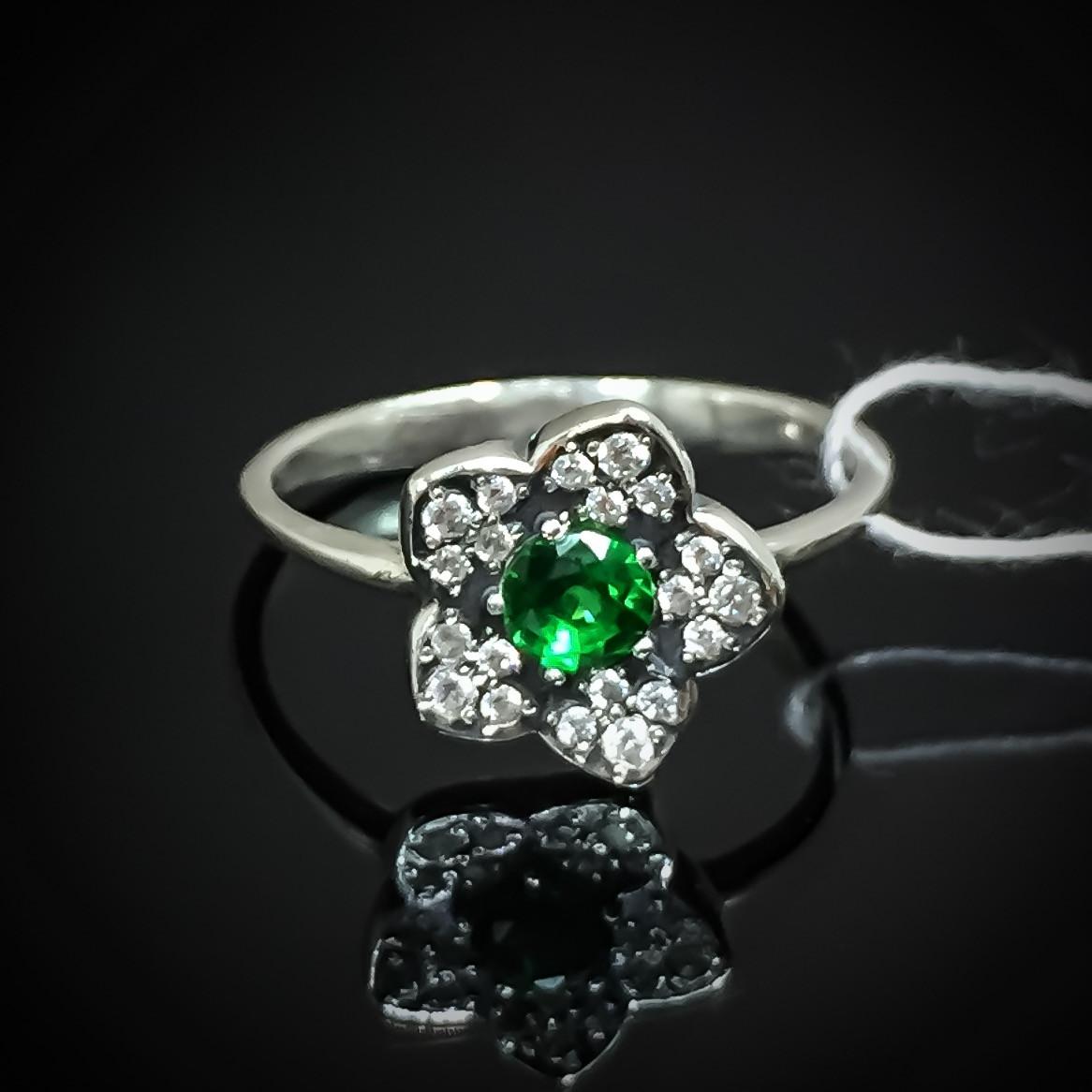 Серебряное кольцо Цветок с фианитами