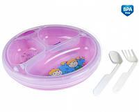 Тарелка с подогревом ложка + вилка Canpol babies