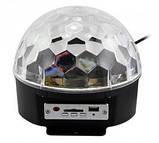 Музичний проектор LED Crystal magic ball light MP3 SD card - світлодіодний диско куля, фото 6
