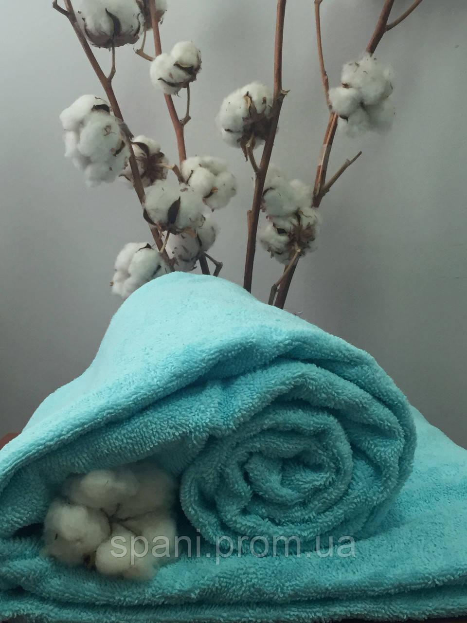 Махровая простынь без резинки 150х200 см, 400 гр/м2 Пакистан, цвет Голубой