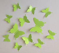 Бабочки 3D салатовые 3Д декор наклейки