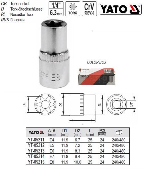 """Kết quả hình ảnh cho Yato YT-05211 Torx socket 1/4"""""""