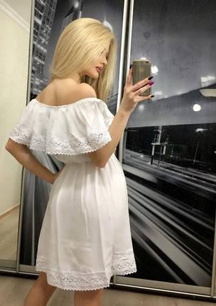 Летнее платье с открытыми плечами, белое, фото 2