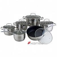 Набор посуды 12 предметов (кастрюли 2.1л, 2.9л, 4.0л, 6.5л; ковш 2.1л; сковородка Ø24см мармур;) из нержавеющей стали (a4027S)