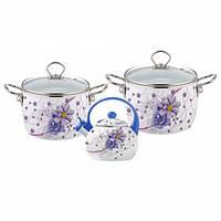 Набор эмалированной посуды 5 предметов (4.4л, 5.5л, чайник 2.5л с голубой ручкой) Kamille (a5900В)