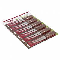 Набор ножей 12 предметов на блистере из нержавеющей стали с деревянными ручками (лезвие 12,5см) Kamille (a5304)