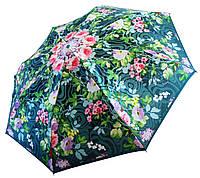 Женский зонт Zest Цветы на зеленом САТИН (автомат) арт.53624-27