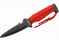 Метательный нож 2487 длиной 205мм, сталь 440C, пилка, стропорез, два цвета обмотки ручки, чехол