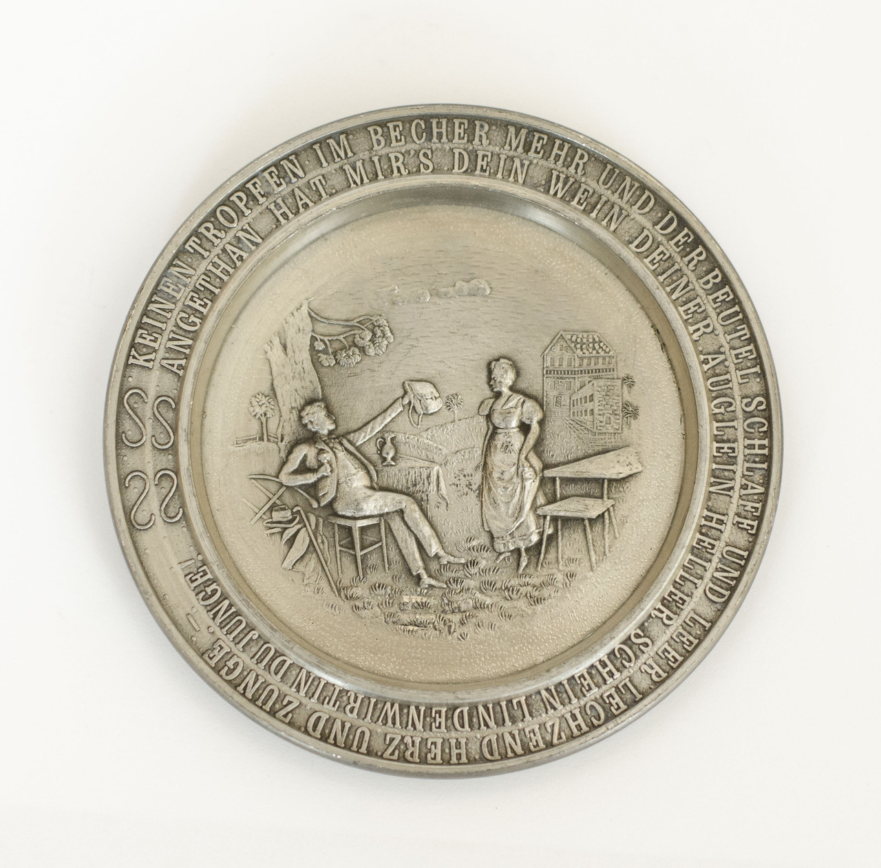 Коллекционная тарелка, тарелочка, олово, Германия, 9 см