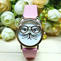 """Женские наручные часы """"кот в очках"""" розовые"""