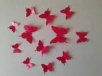 Бабочки 3D малиновые 3Д декор наклейки