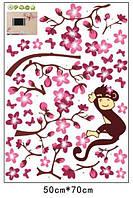 Наклейка виниловая Мартышка на дереве 3D декор