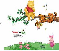 Наклейка виниловая Винни Пух и Тигра на ветке 3D декор