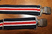 Подтяжки мужские 3-х цветные, молодежные (сине-бело-красные) , крестообразные
