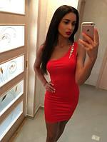 Платье женское на одно плечо в красном цвете