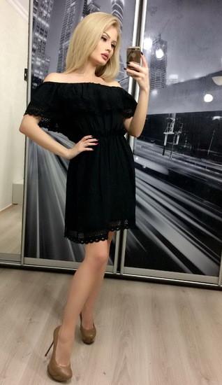 Летнее платье с открытыми плечами ft-267 черное