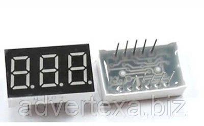 """Цифровой индикатор 7 сегментов, 3 разряда, с общим катодом, дисплей символьный 0.4 """", красный, LED"""