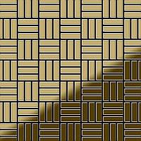 Мозаика из цельного металла зеркально полированный титан Gold золотого цвета толщиной 1,6 мм ALLOY Basketweave-Ti-GM