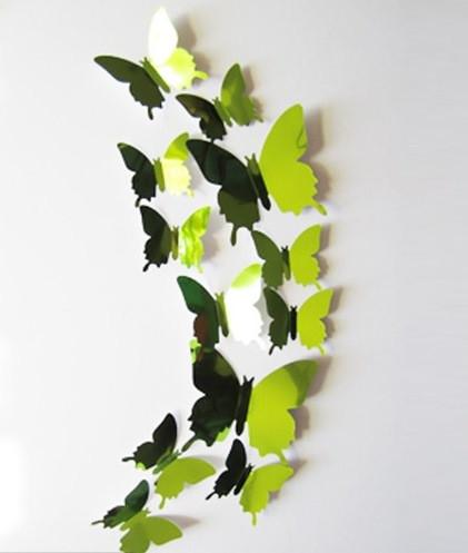 Бабочки 3D зеркальные (зелёные) 3Д декор наклейки - POZITIFFCHIK (ПОЗИТИФФЧИК) в Киеве