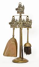 Старый каминный набор, бронза, Англия, морской стиль