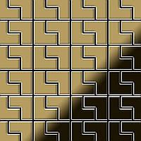 Мозаика из цельного металла зеркально полированный титан Gold золотого цвета толщиной 1,6 мм ALLOY Kink-Ti-GM | дизайнер Карим Рашид