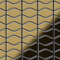 Мозаика из цельного металла зеркально полированный титан Gold золотого цвета толщиной 1,6 мм ALLOY Kismet & Karma-Ti-GM | дизайнер Карим Рашид