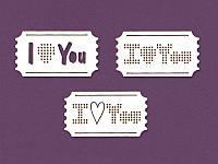 Чипборд для вышивки от ScrapBox — Билетики I Love You, 50x30 мм, 3 элемента