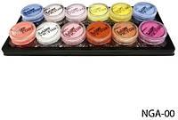 Набір кольорових акрилових пудр Lady Victory з 12 колірних відтінків LDV NGA-00 /0-7