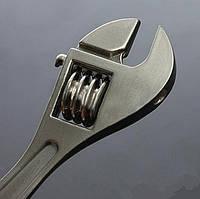 """Дизайнерский брелок, миниатюра - """"Разводной ключ"""", цвет никель"""