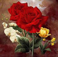 Алмазная вышивка Богатые розы KLN 20 х 20 см (арт. FS191) полное заполнение