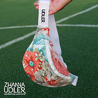 Поясная сумка коралово-бирюзовые цветы