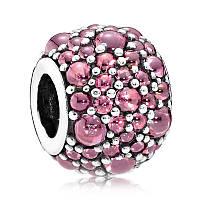 Подвеска-шарм Розовые мерцающие капли из серебра 925 пробы пандора (pandora)