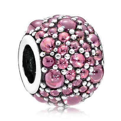 Подвеска-шарм «Розовые мерцающие капли» в стиле Pandora