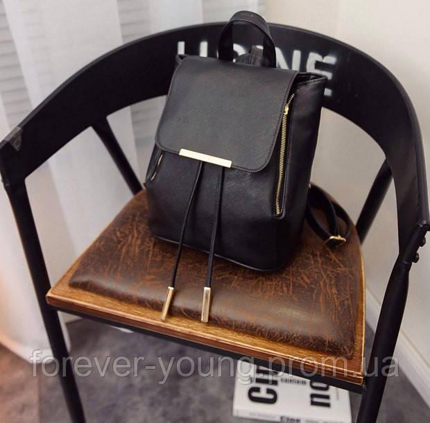 8aac2525ef16 Женский рюкзак кожзам черный - Интернет-магазин