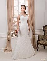 """Симпатичное свадебное платье """"годе"""" с нежной полу прозрачной спинкой на пуговицах"""