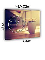 Картина с часами на холсте 30х40 Чашка кофе