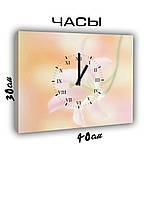 Картина с часами на холсте 30х40 Нежность